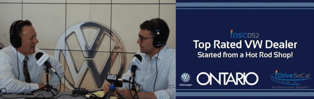Ontario VW's Earl Reed & Tom Smith pictured as part of iDriveSoCal Podcast banner Top SoCal Volkswagen dealer