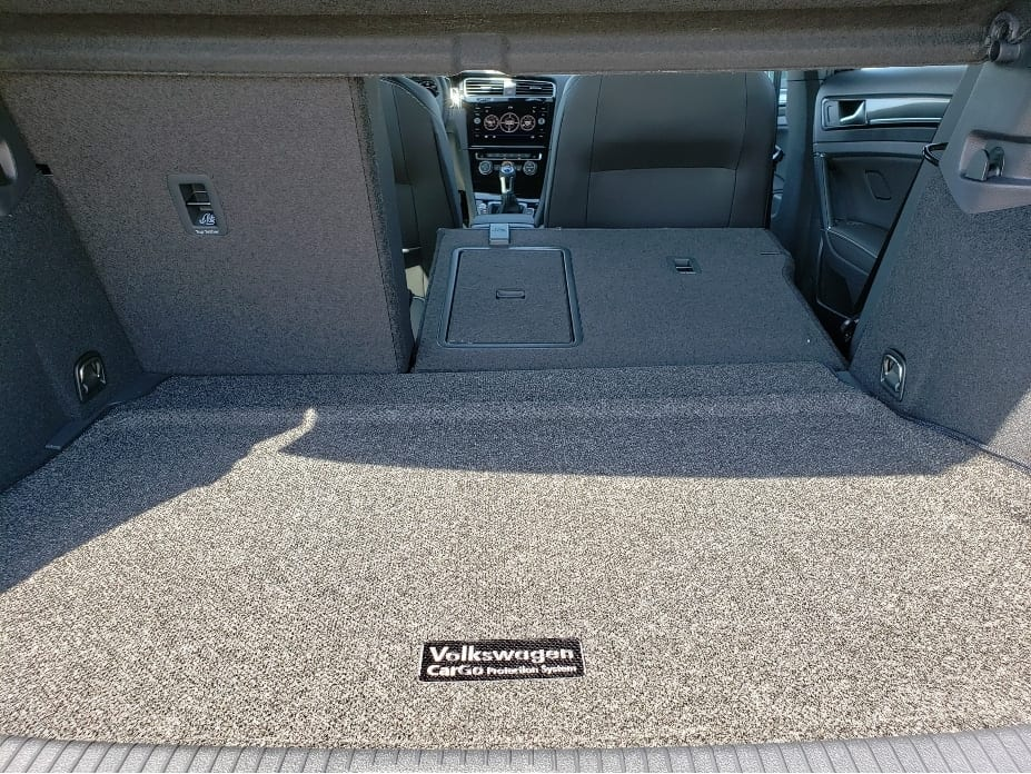 2019 VW Golf R cargo area w. back seat partial down